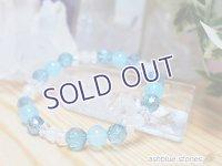シーブルーカルセドニー、アクアオーラ、レインボームーンストーン(ホワイトラブラドライト) 青のブレス