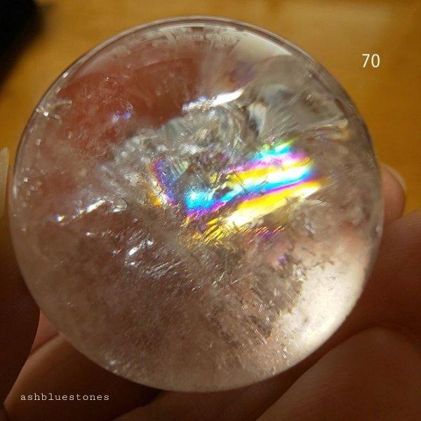 画像1: 【約35.7mm】レインボー水晶 スフィア 62.4g【70】